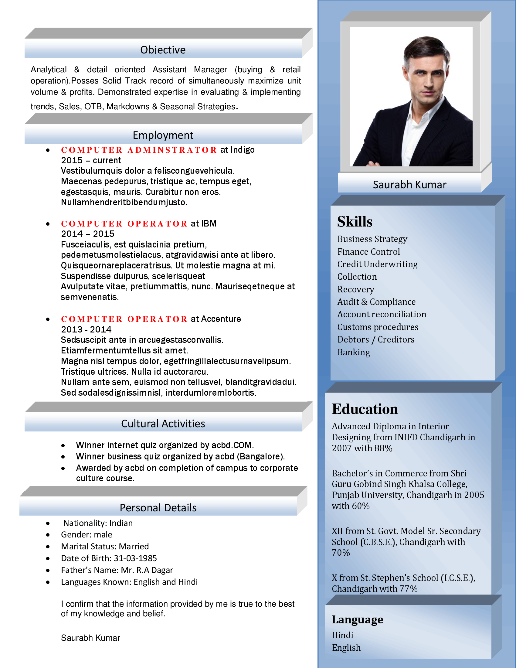 Latest Resume Format Samples