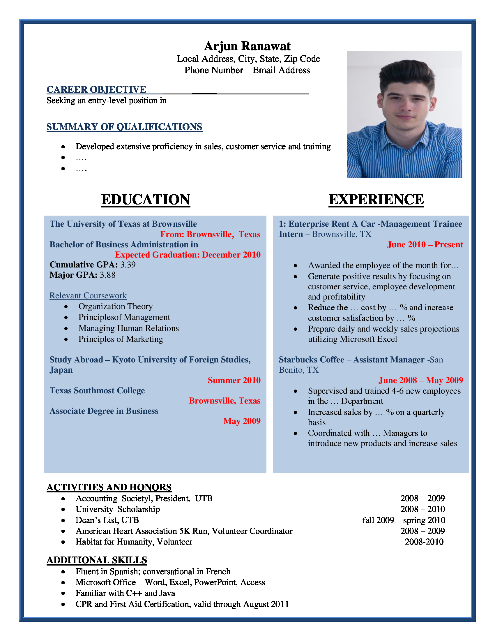 General Manager Cv Bar Job Cv Doc Tk Resume Summary For Restaurant