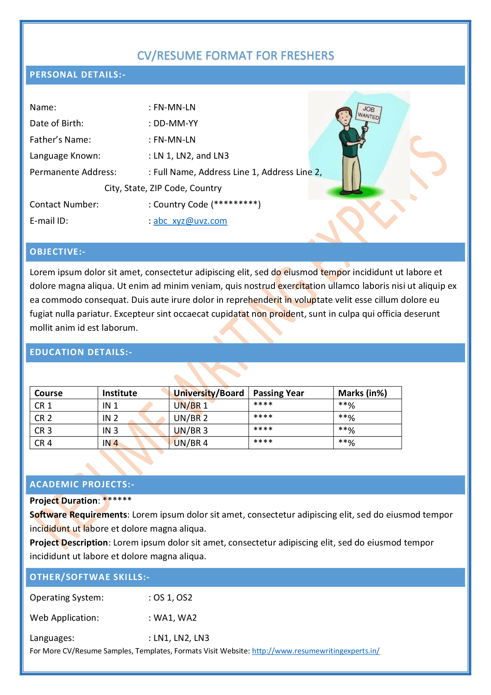 Customize writing - Moldings Plus sample resume of fresher chartered ...