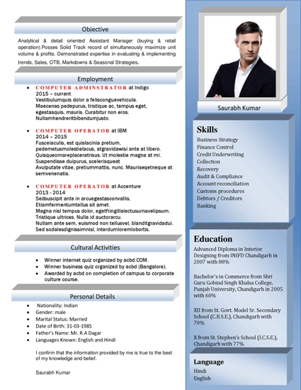 Free Resume Formats Sample Resume Format Resume
